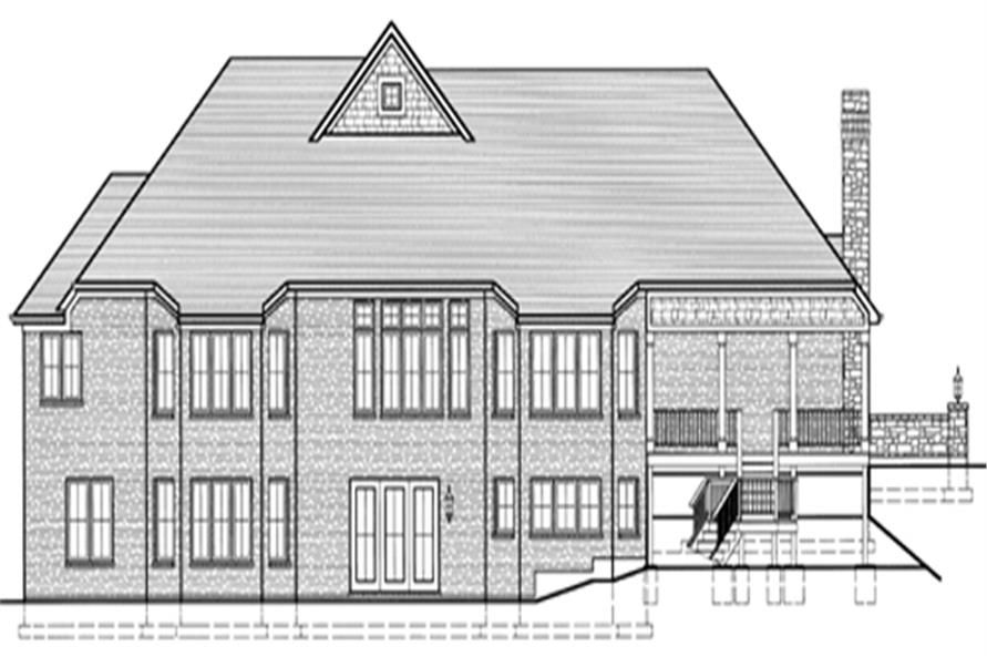 169-1016 house plan rear elevation