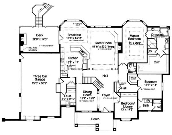 169-1016 house plan main level