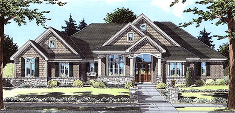 169-1016: Home Plan Rendering-Front Door