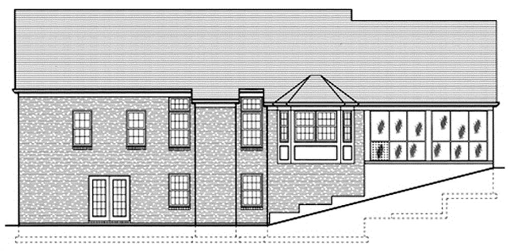 169-1019 house plan rear elevation