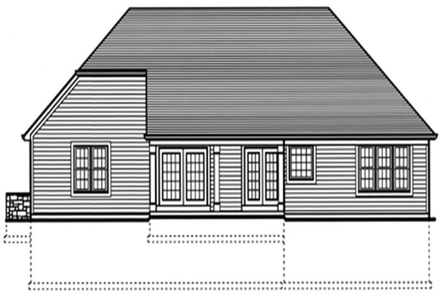 169-1020 house plan rear elevation