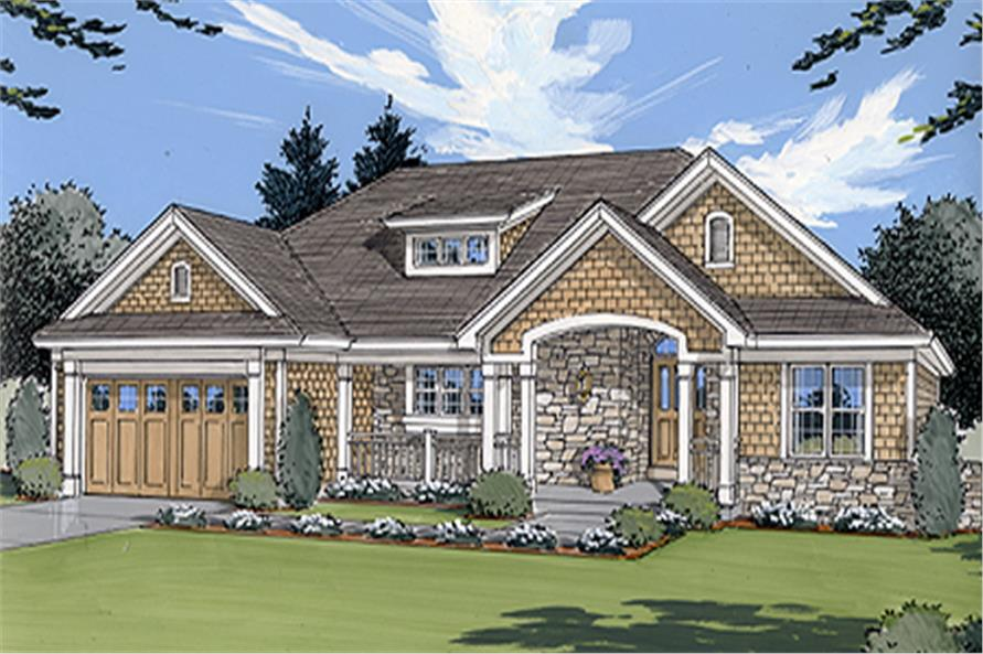 Front elevation of Craftsman home (ThePlanCollection: House Plan #169-1020)