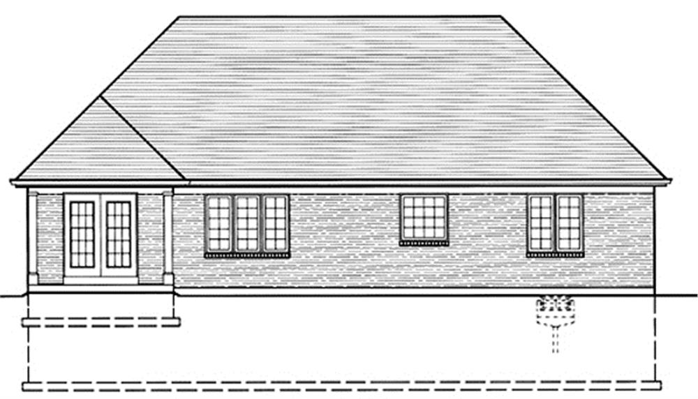 169-1021 house plan rear elevation