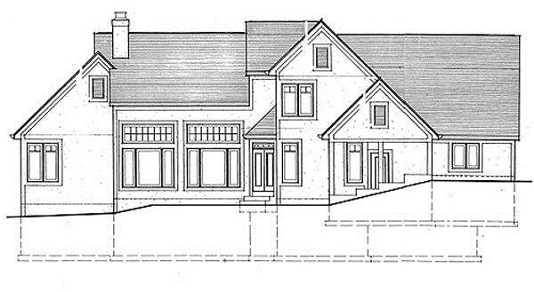 169-1023 house plan rear elevation