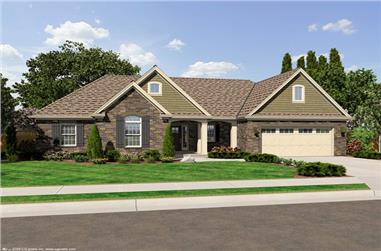 3-Bedroom, 1597 Sq Ft Ranch Home Plan - 169-1025 - Main Exterior