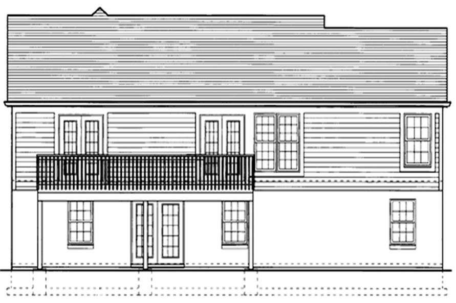 169-1028 house plan rear elevation