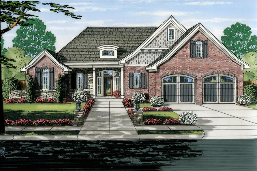 Front elevation of Craftsman home (ThePlanCollection: House Plan #169-1031)