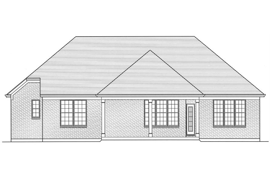 Home Plan Rear Elevation of this 3-Bedroom,1741 Sq Ft Plan -169-1033