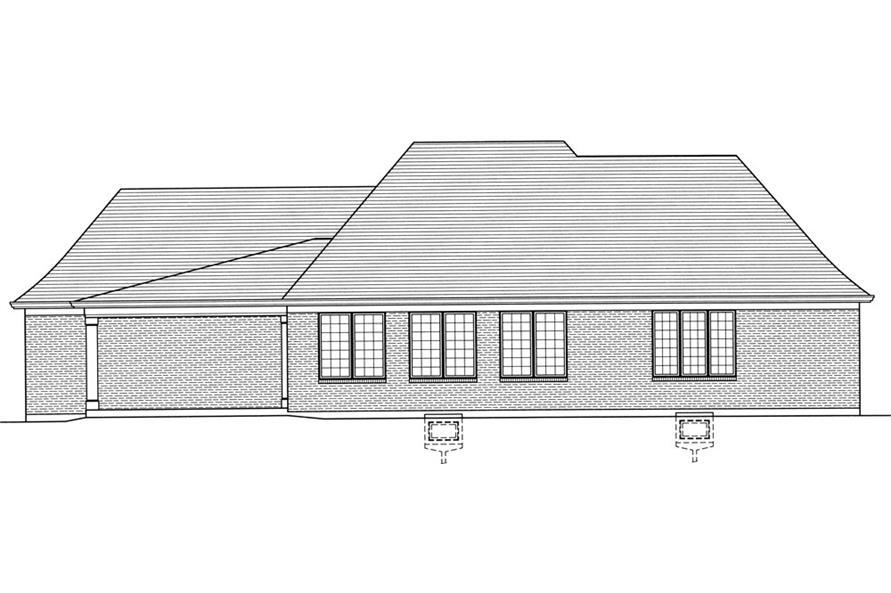 169-1034: Home Plan Rear Elevation