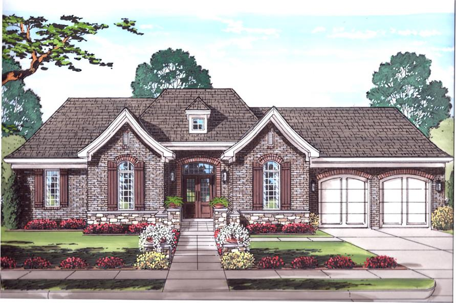 Front elevation of Traditional home (ThePlanCollection: House Plan #169-1034)