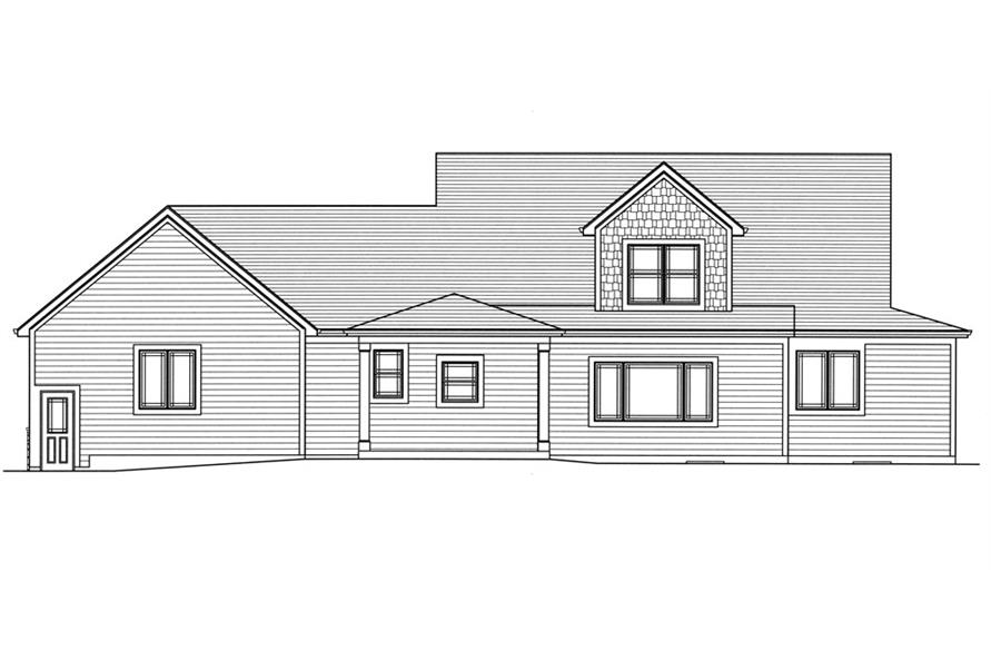 Home Plan Rear Elevation of this 4-Bedroom,2482 Sq Ft Plan -169-1035
