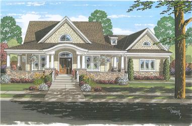 Front elevation of Cape Cod home (ThePlanCollection: House Plan #169-1035)