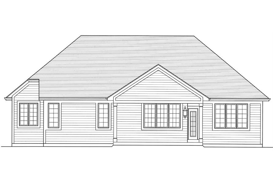 169-1036: Home Plan Rear Elevation