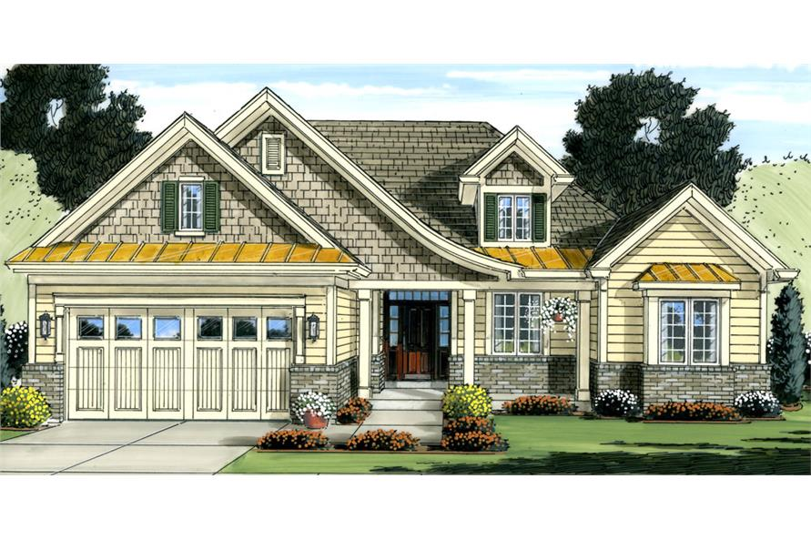 Front elevation of Cottage home (ThePlanCollection: House Plan #169-1036)