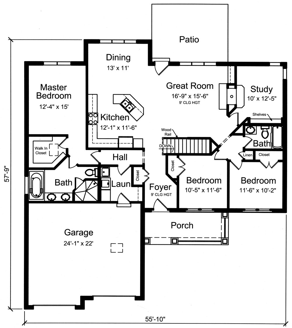 Country Ranch Plan #169-1037: 3 Bedrm, 1818 Sq Ft Home