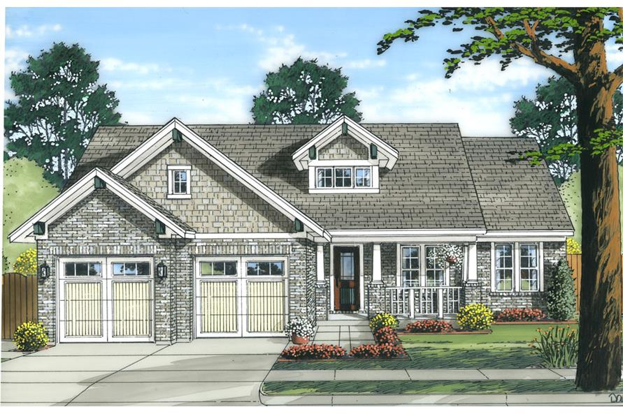 Front elevation of Country home (ThePlanCollection: House Plan #169-1037)