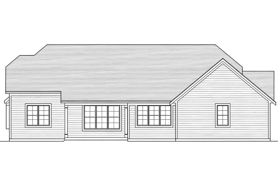 169-1038: Home Plan Rear Elevation