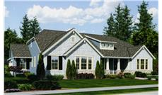 Front elevation of Craftsman home (ThePlanCollection: House Plan #169-1038)
