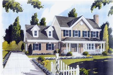 Color rendering of Traditional home plan(ThePlanCollection: House Plan #169-1039)