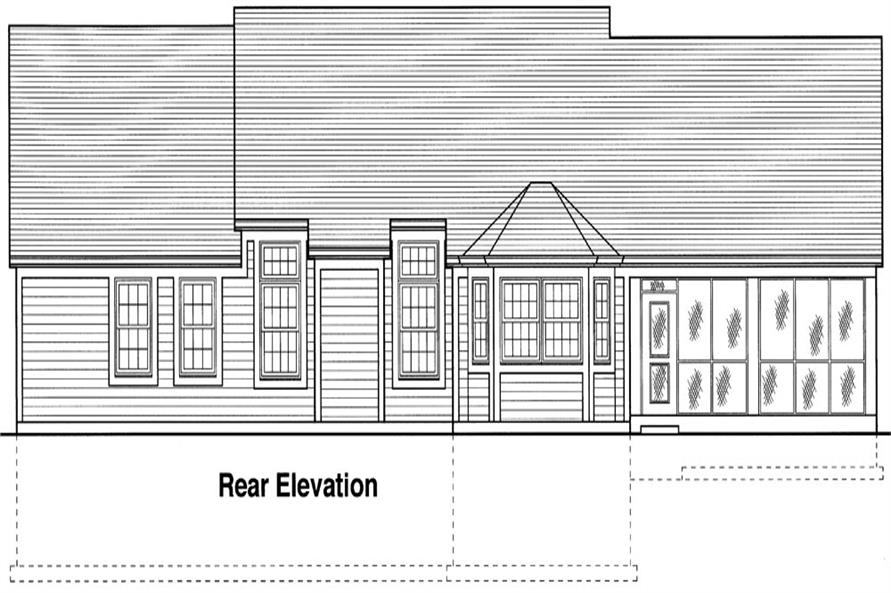 169-1041: Home Plan Rear Elevation