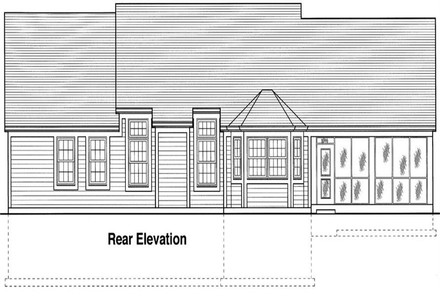 169-1041: Home Plan Rear Elevation
