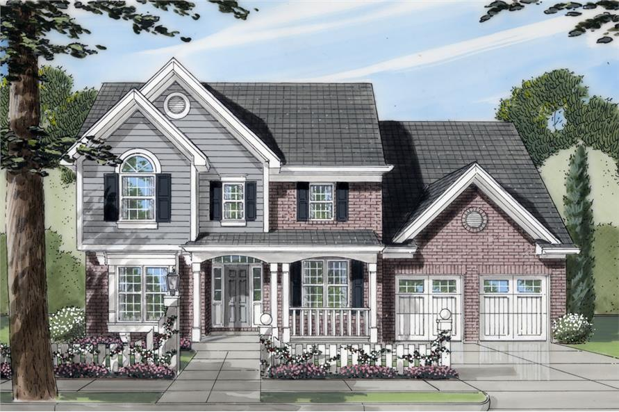 Front elevation of Transitional home (ThePlanCollection: House Plan #169-1045)