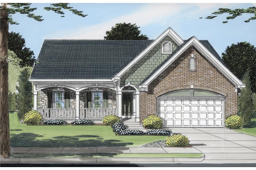 Front elevation of Traditional home (ThePlanCollection: House Plan #169-1046)