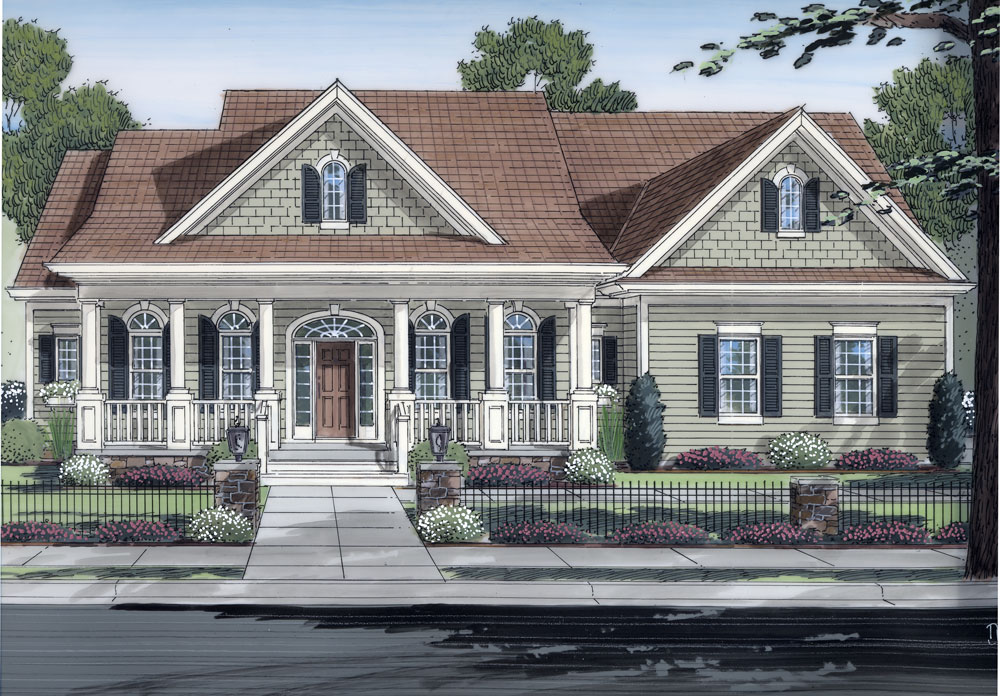 Exceptional Check Out Its Colonnaded Portico And Matching Number Of Windows Flanking  The Front Door (Plan ...