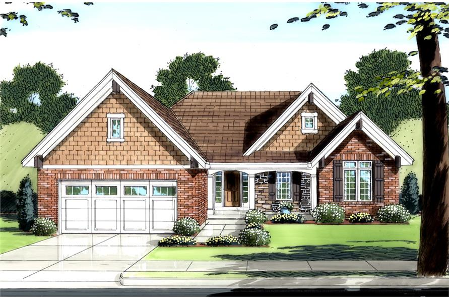 Front elevation of Ranch home (ThePlanCollection: House Plan #169-1048)