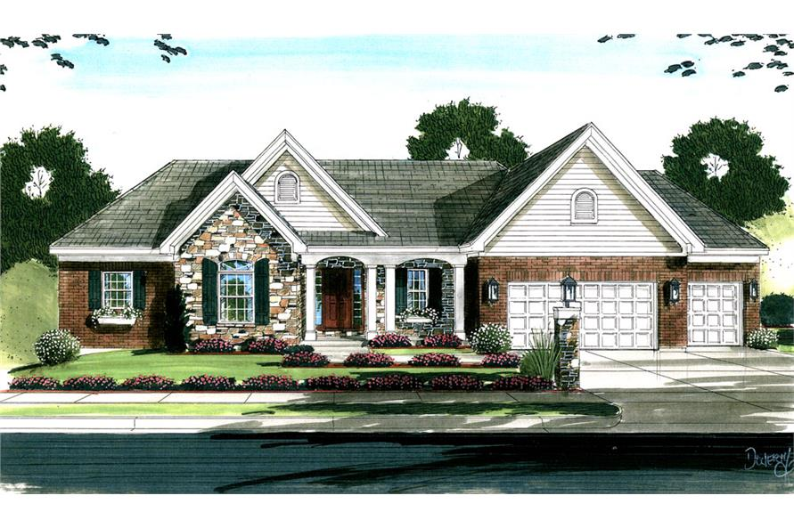 Front elevation of Country home (ThePlanCollection: House Plan #169-1049)