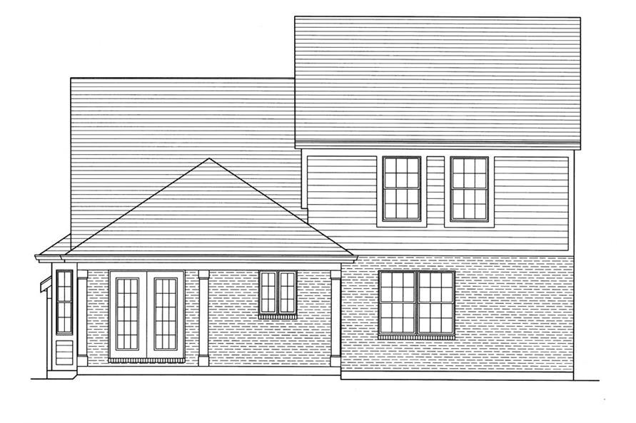 169-1050: Home Plan Rear Elevation