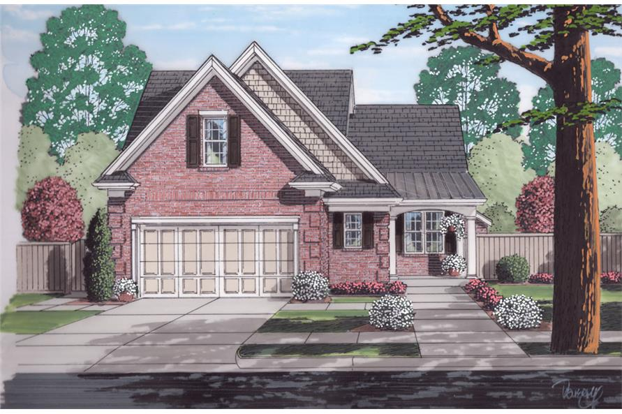 Front elevation of Cottage home (ThePlanCollection: House Plan #169-1050)