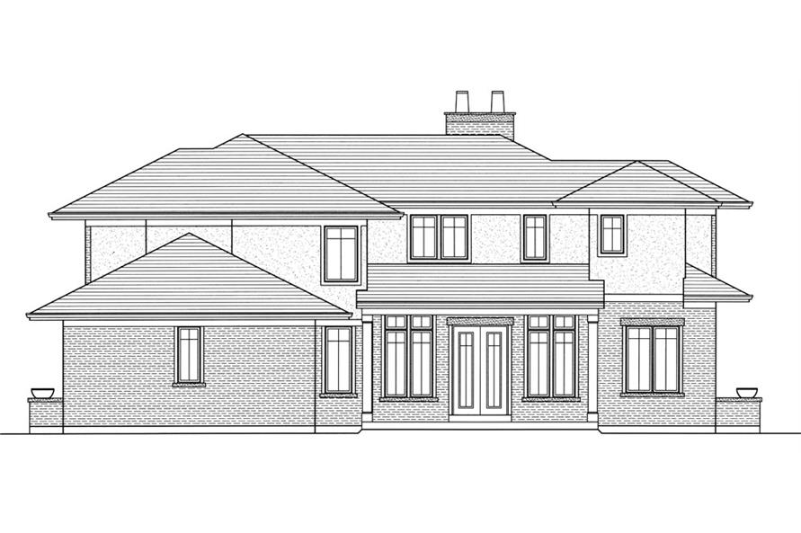 169-1051: Home Plan Rear Elevation
