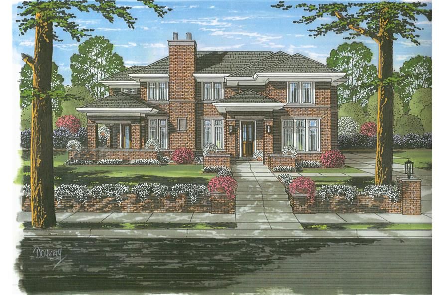 Front elevation of French home (ThePlanCollection: House Plan #169-1051)