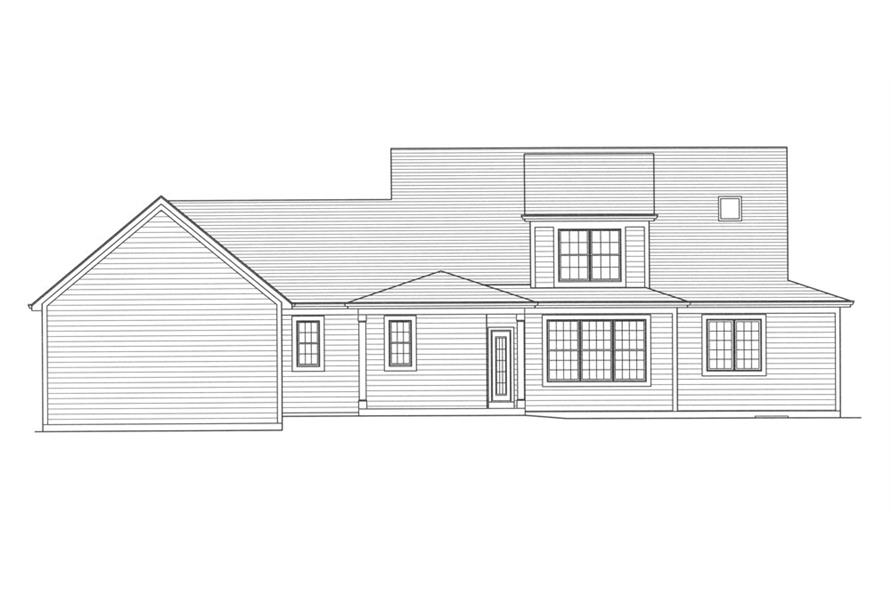 169-1052: Home Plan Rear Elevation