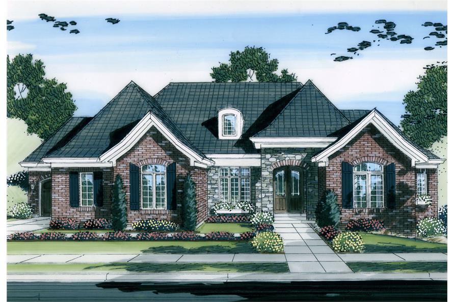 Front elevation of Ranch home (ThePlanCollection: House Plan #169-1053)