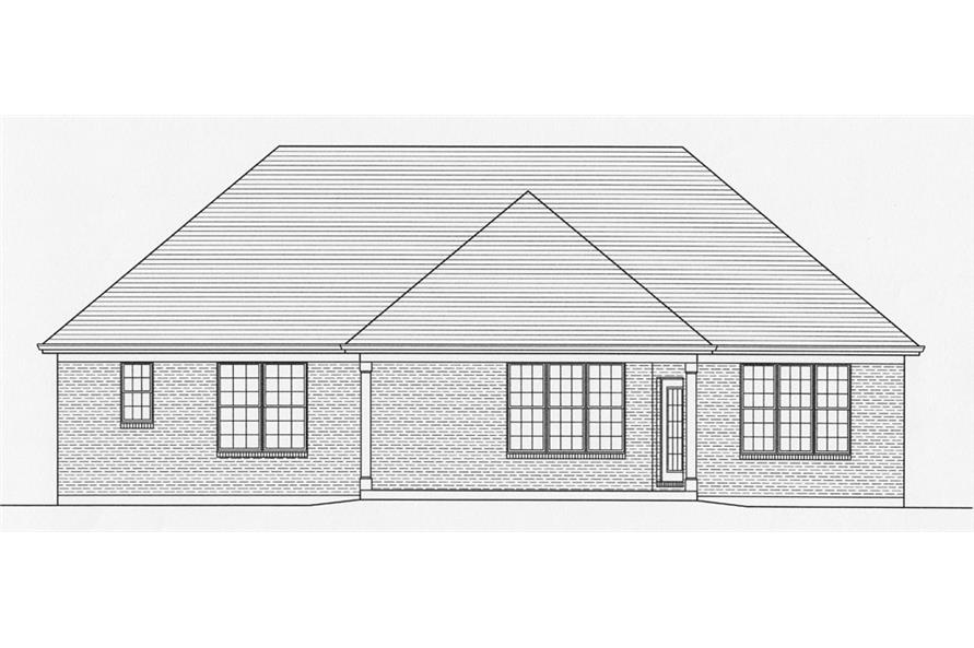 169-1054: Home Plan Rear Elevation
