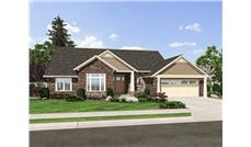 Front elevation of Craftsman home (ThePlanCollection: House Plan #169-1055)