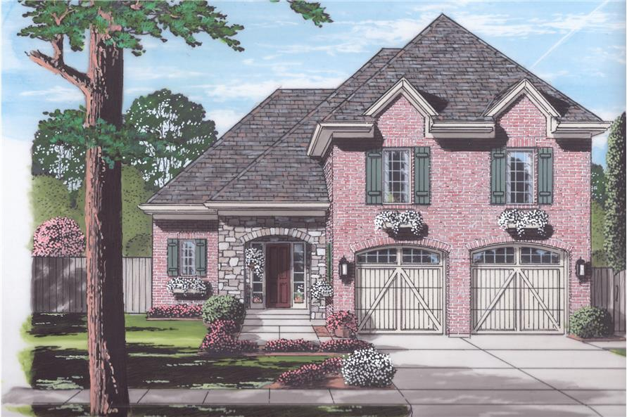 Front elevation of European home plan (ThePlanCollection: House Plan #169-1056)
