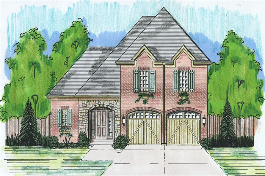 Front elevation of Tudor home (ThePlanCollection: House Plan #169-1056)