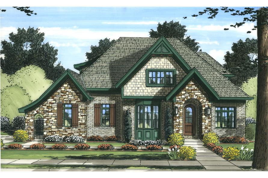 Front elevation of Tudor home (ThePlanCollection: House Plan #169-1057)