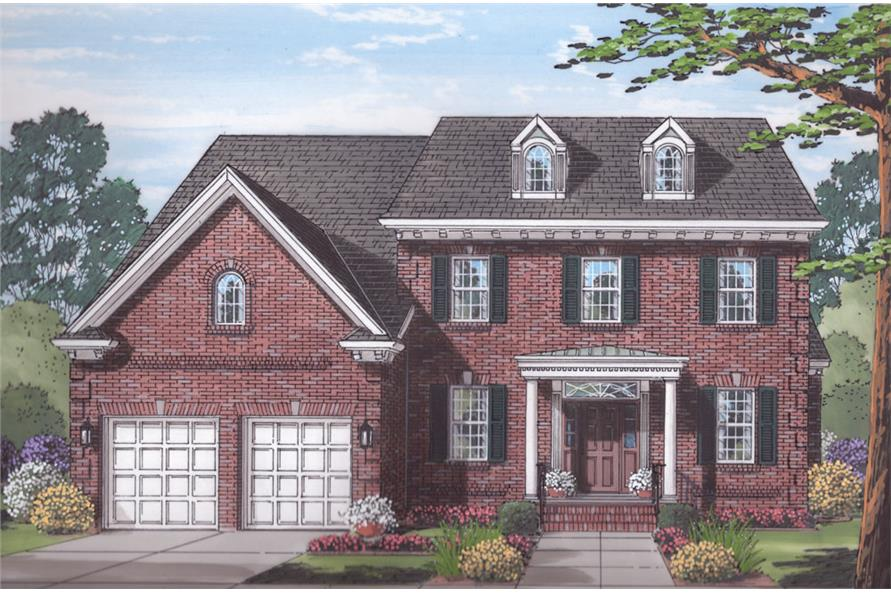 Front elevation of Traditional home (ThePlanCollection: House Plan #169-1059)