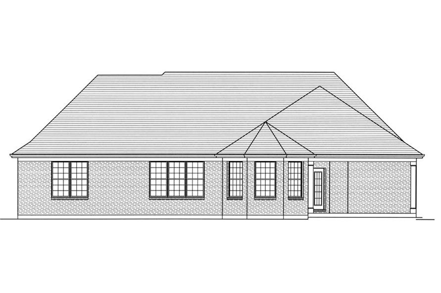 169-1060: Home Plan Rear Elevation