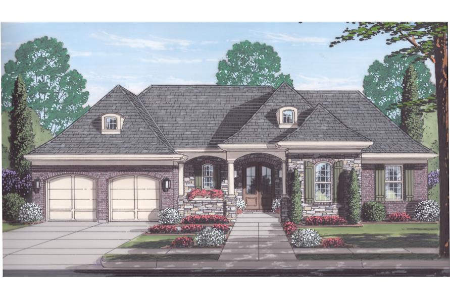 Front elevation of European home (ThePlanCollection: House Plan #169-1060)