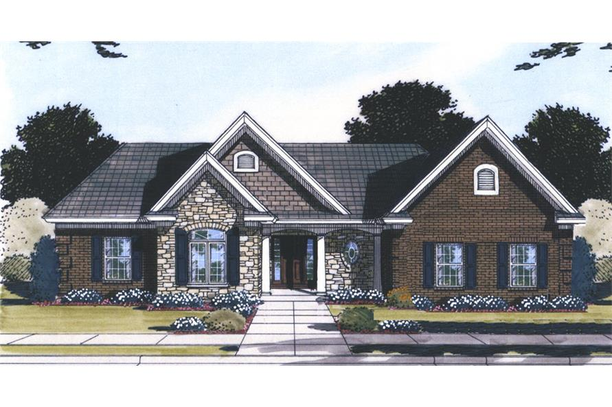 Front elevation of Transitional home (ThePlanCollection: House Plan #169-1061)