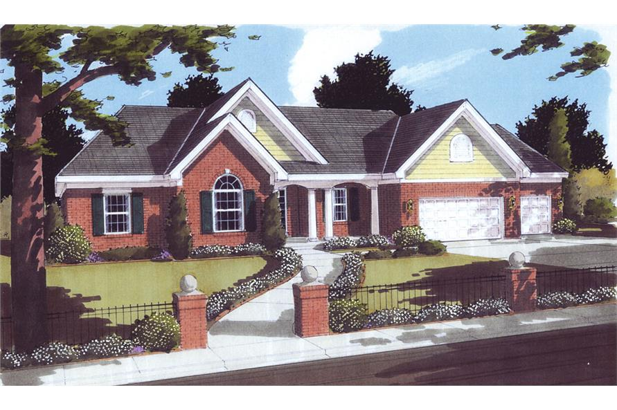 Front elevation of Traditional home (ThePlanCollection: House Plan #169-1062)