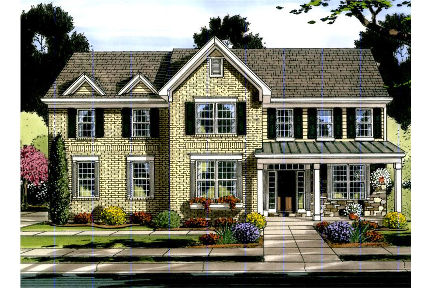 Front elevation of Traditional home (ThePlanCollection: House Plan #169-1063)