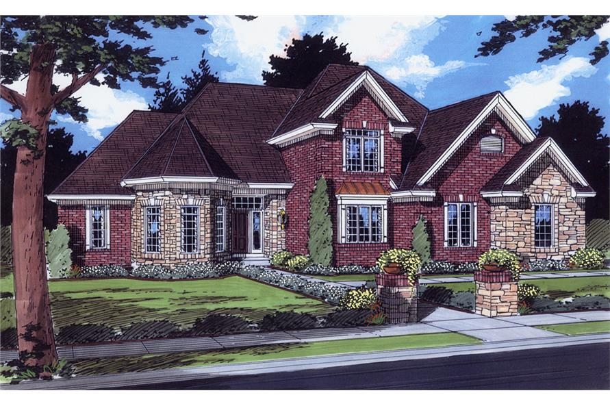 Front elevation of European home (ThePlanCollection: House Plan #169-1064)