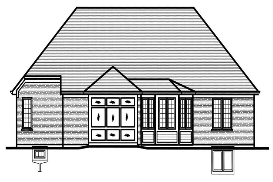 169-1065: Home Plan Rear Elevation