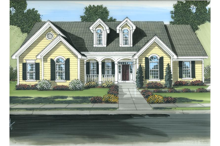 Front elevation of Traditional home (ThePlanCollection: House Plan #169-1067)